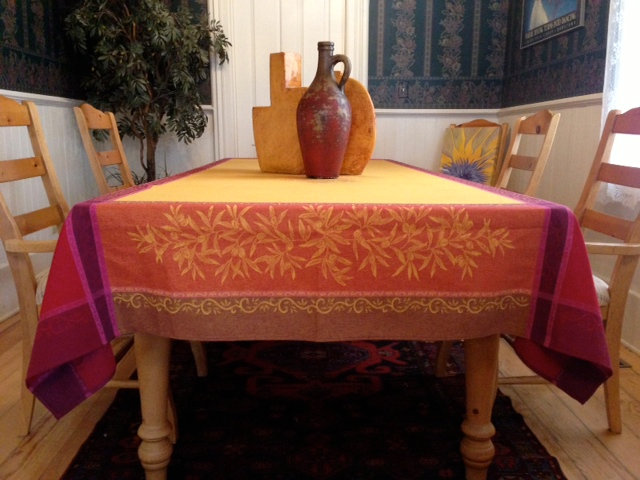 Olive Orange Jacquard Tablecloth