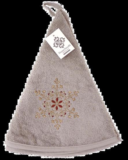 Grey Flocons de Neige Terrycloth Round Towel