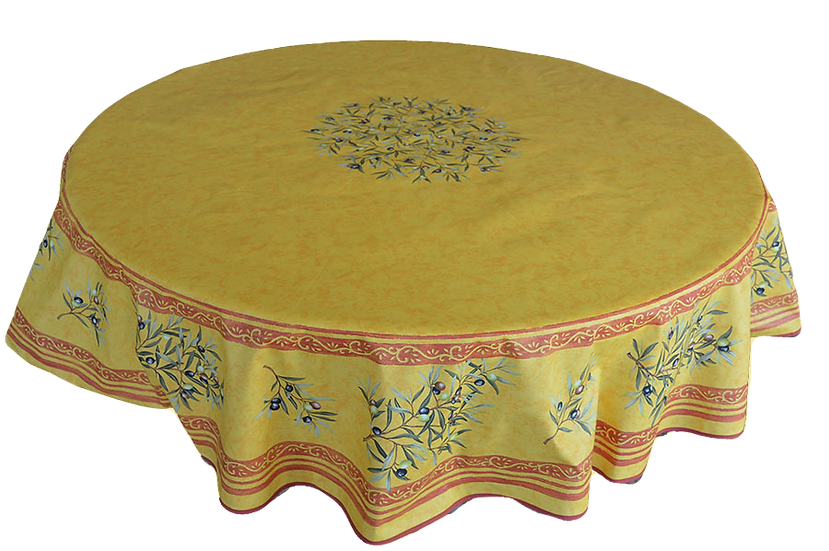 Olives Cotton Tablecloths: Saffron