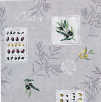 Mediteranean Olives Coated Cotton Tablecloth: Grey