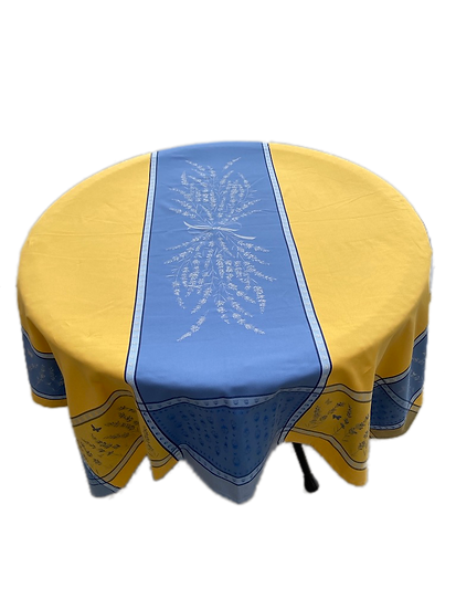 Grignan Blue with Yellow Jacquard Tablecloth
