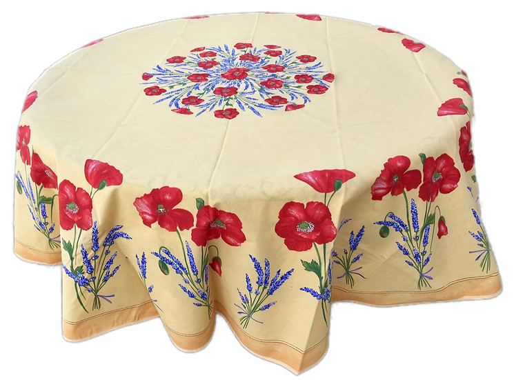 Poppy and Lavender Yellow Cotton Tablecloth