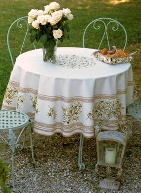 Olive Natural Centered Coated Cotton Tablecloth