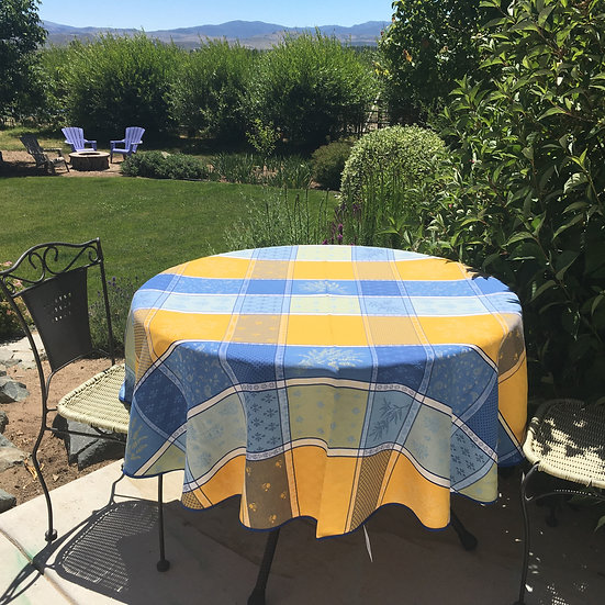 Valbonne Blue with Yellow Jacquard Tablecloth