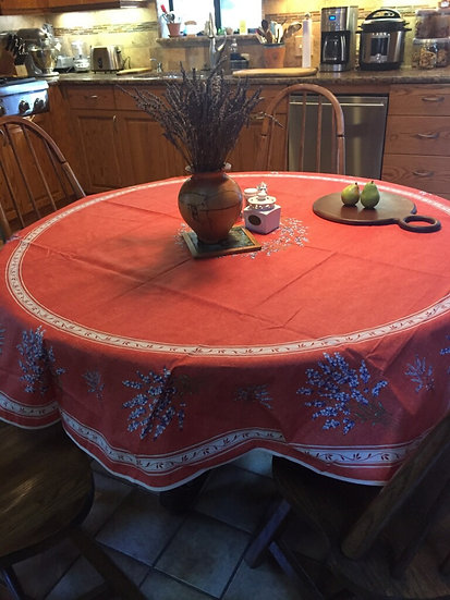 Terra Cotta Valensole Coated Cotton Tablecloth