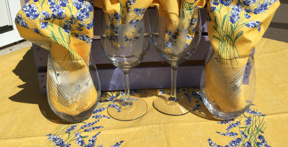 Nevada Lavender and Bees Wine Glasses