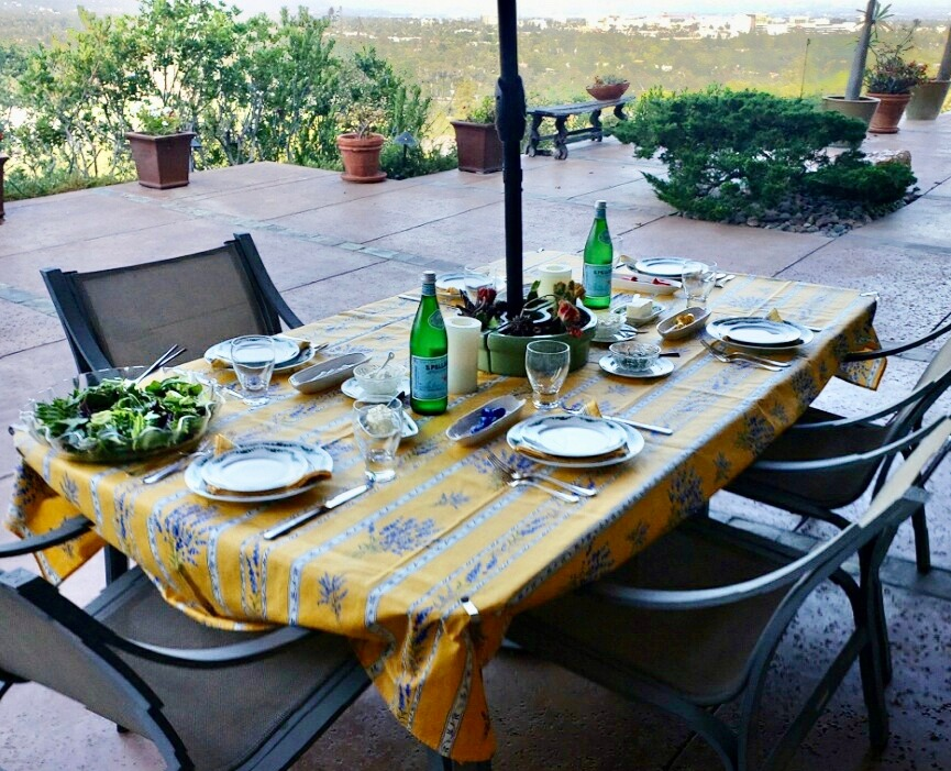 Valensole Coated Cotton Tablecloth: Yellow
