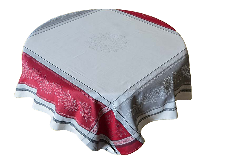 Tuscan Olive Jacquard Tablecloth: Red