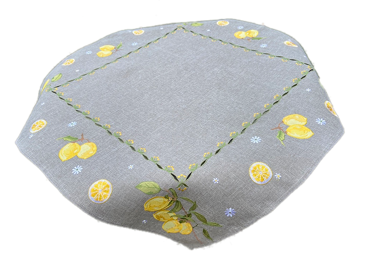 Embroidered Citron Table Toppers