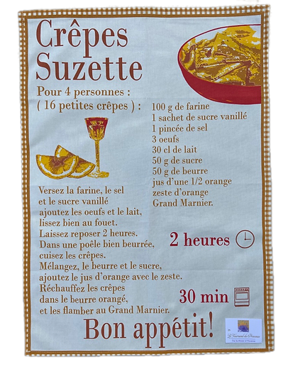 Crepes Suzette Recipe Dish Towel