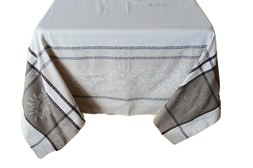 Olive Natural Jacquard Tablecloth