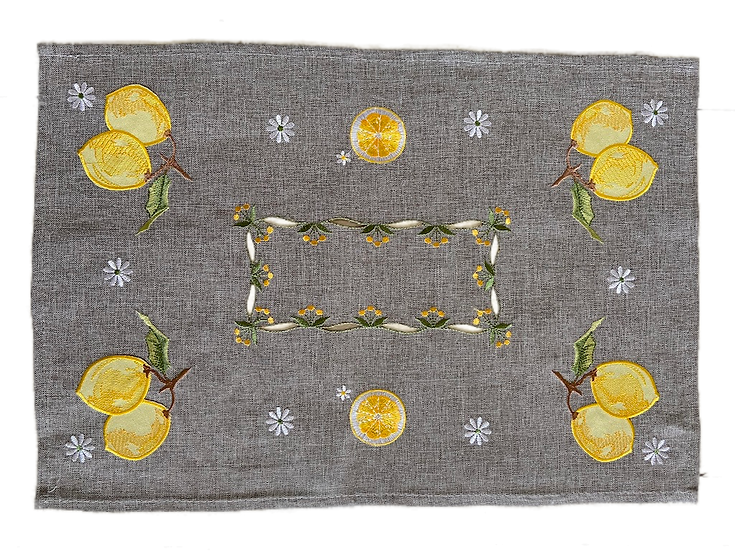 Embroidered Citron Placemats