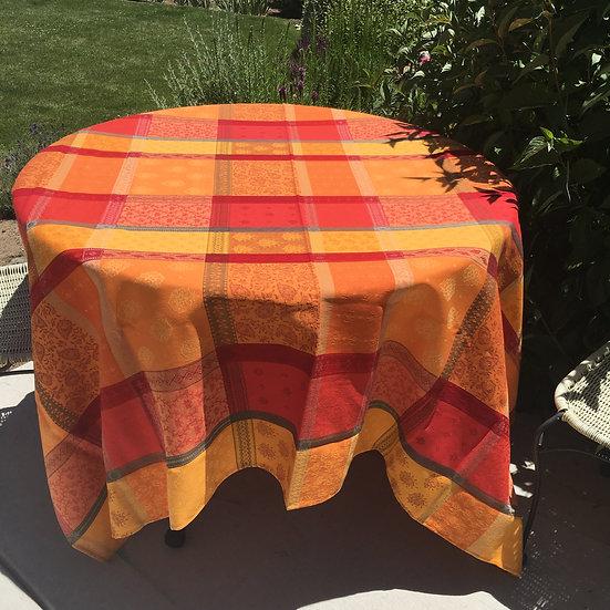 Valescure Orange Jacquard Tablecloth