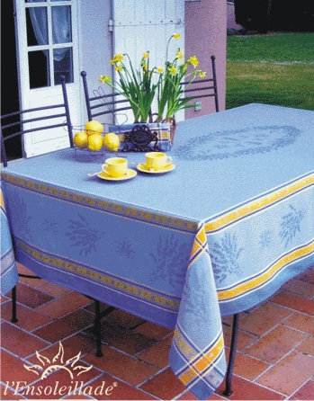Senanque Blue with Yellow Jacquard Tablecloth