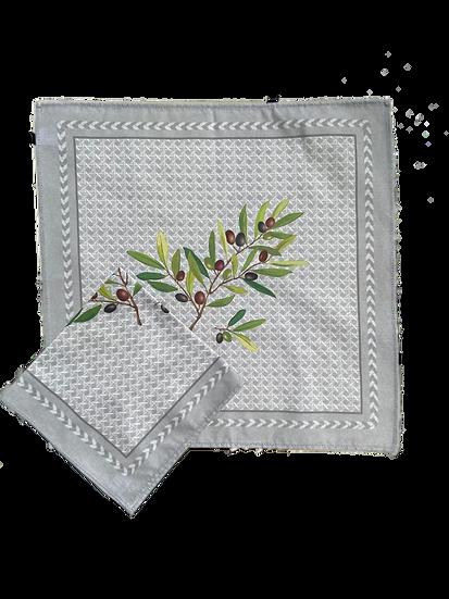 Nyons Olive Cotton Napkins: Grey