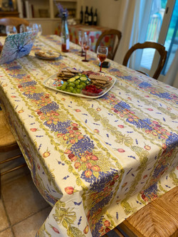 Roses & Lavender Coated Cotton Tablecloths