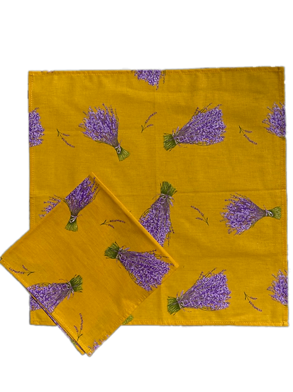 Lavender Bunches Yellow Cotton Napkins