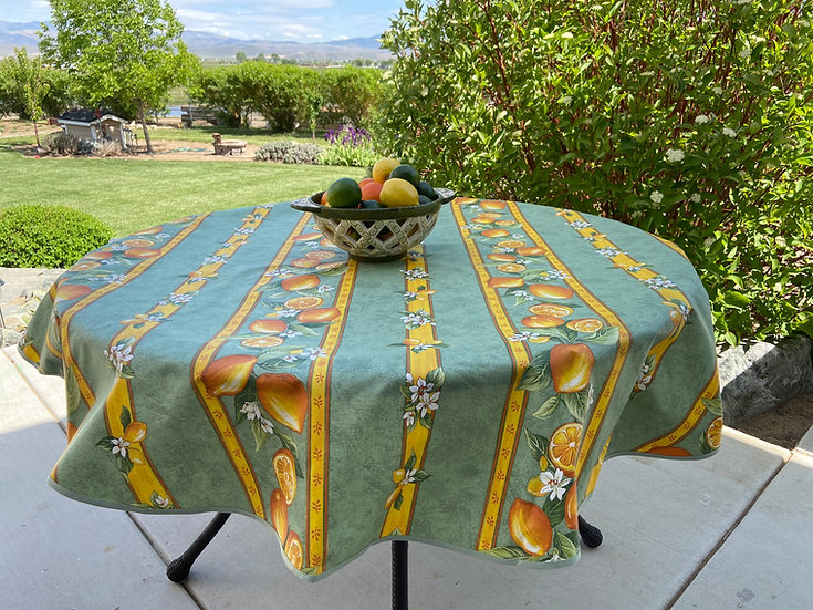 Citron Green Coated Cotton Tablecloth
