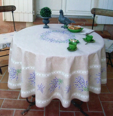 Valensole Grey Coated Cotton Tablecloth