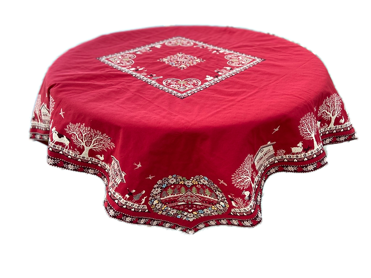 Coeur d'Hiver Red Embroidered Holiday Table Topper