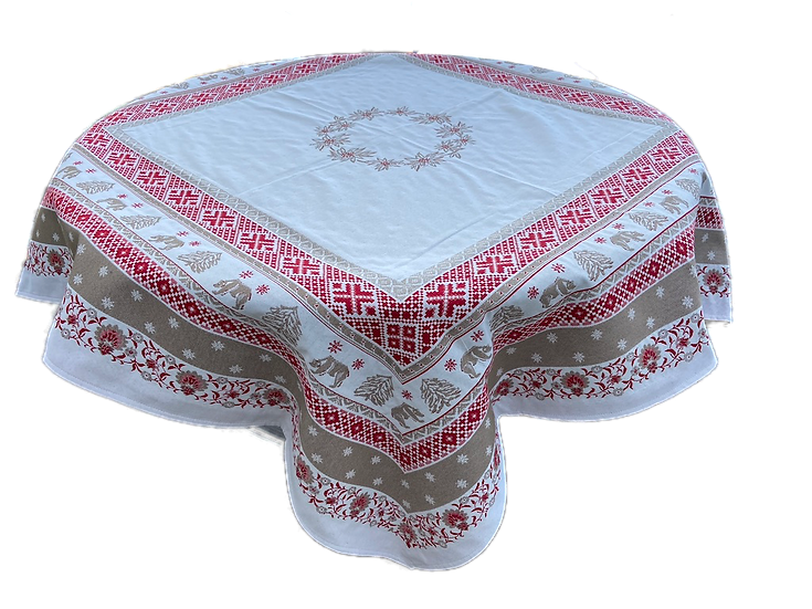 Ours d'Hiver Embroidered Holiday Table Toppers
