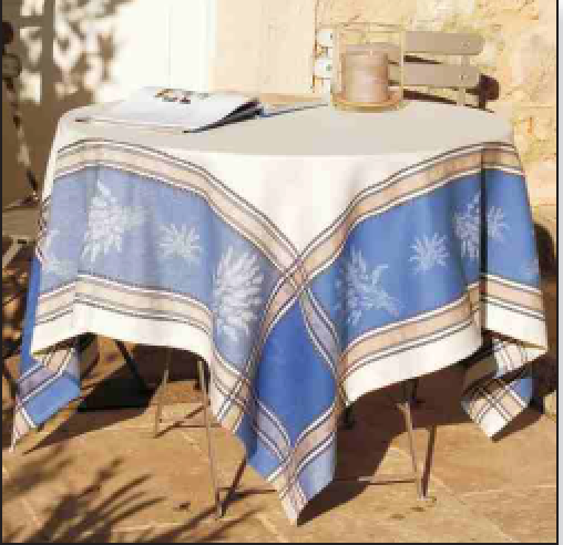 Senanque Blue with White Jacquard Tablecloth