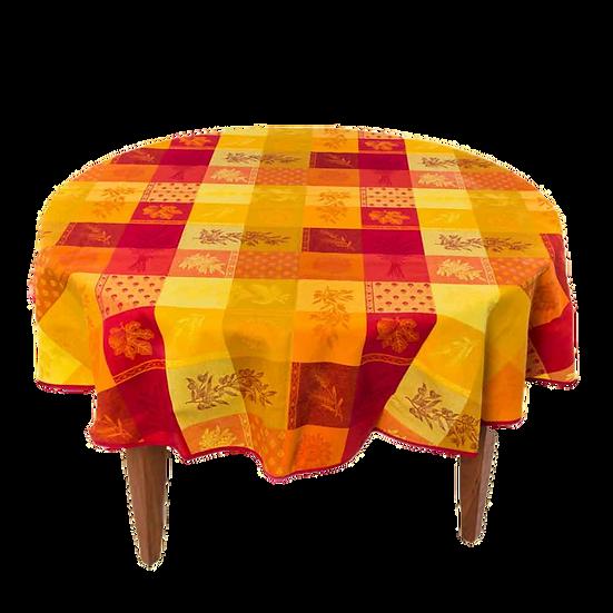 Lourmarin Orange Jacquard Tablecloth
