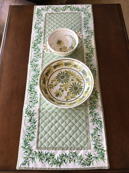 Quilted Cotton Small Table Runner: Green