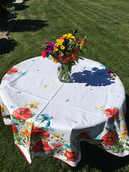 Painted Poppies Coated Cotton Tablecloths
