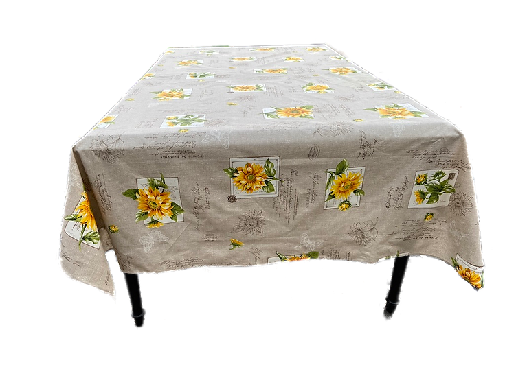 Sunflowers Beige Coated Cotton Tablecloth