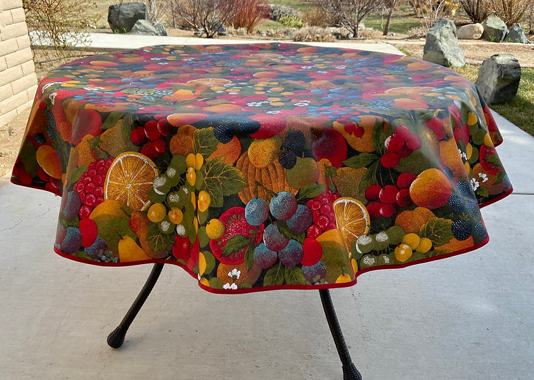"""Les Fruits 60"""" Round Tablecloth"""