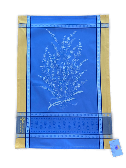 Grignan Dish Towels: Blue with Yellow