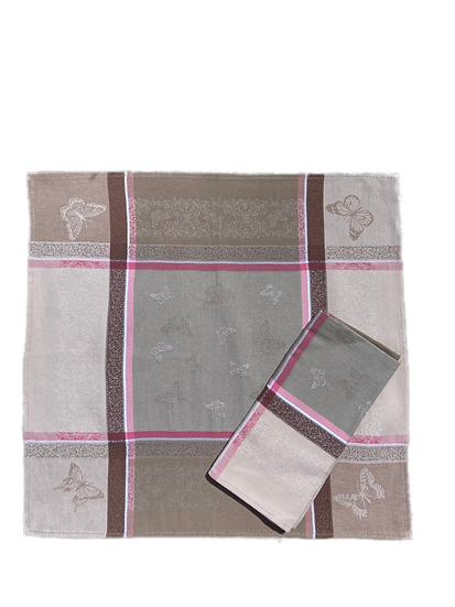 Barboleta Pink Grey Jacquard Napkin
