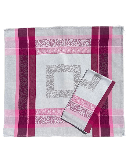 Bargeme Grey with Pink Jacquard Napkin