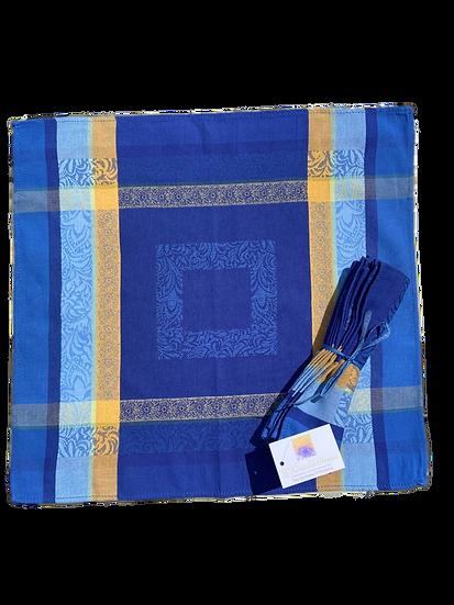 Bargeme Blue Yellow Jacquard Napkin