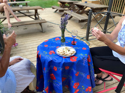 Poppies and Lavender Coated Cotton Tablecloths: Blue