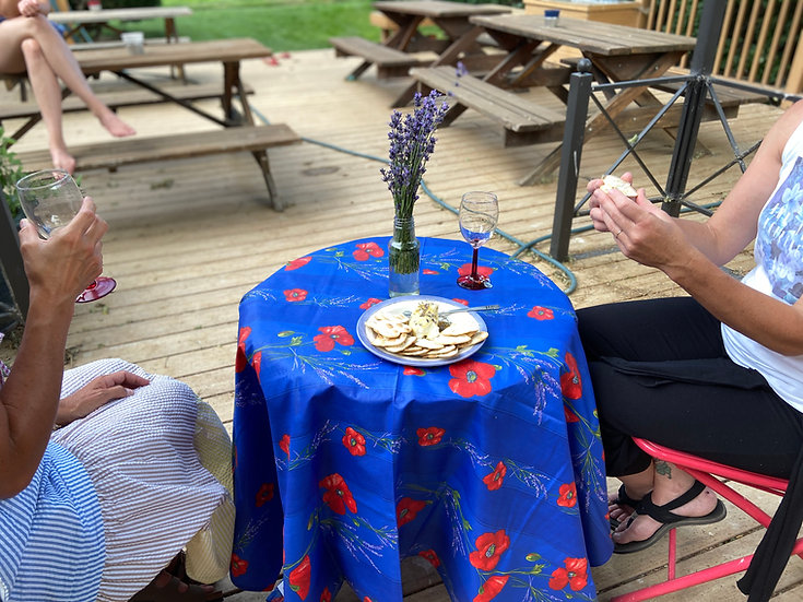 Poppies and Lavender Dark Blue Tablecloth
