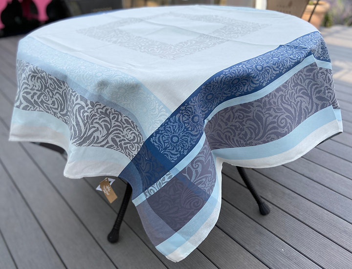 Bargeme Jacquard Tablecloth: Blue with Grey