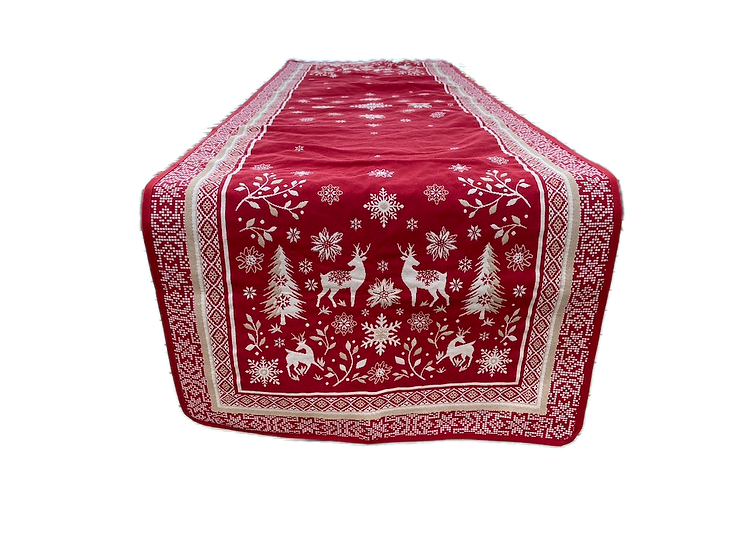 Vallee  Red Holiday Table Runner