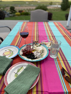 Ardour Striped Coated Cotton Tablecloths: Multi-colored