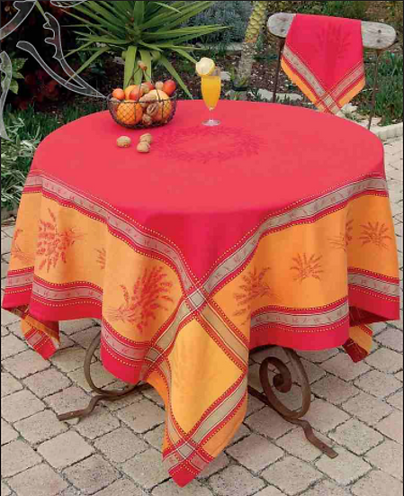Senanque Red with Yellow Jacquard Tablecloth