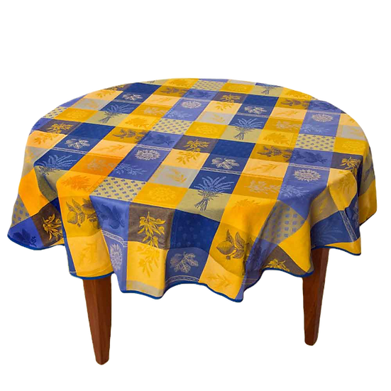 Lourmarin Blue Yellow Jacquard Tablecloth