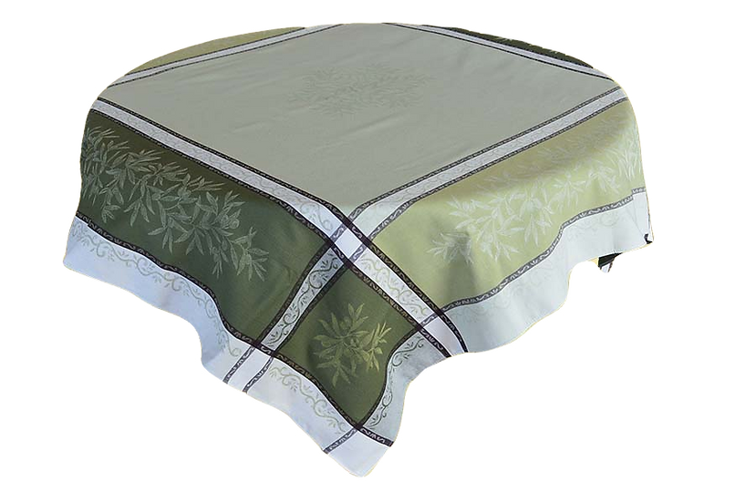 Olive Green Jacquard Tablecloth