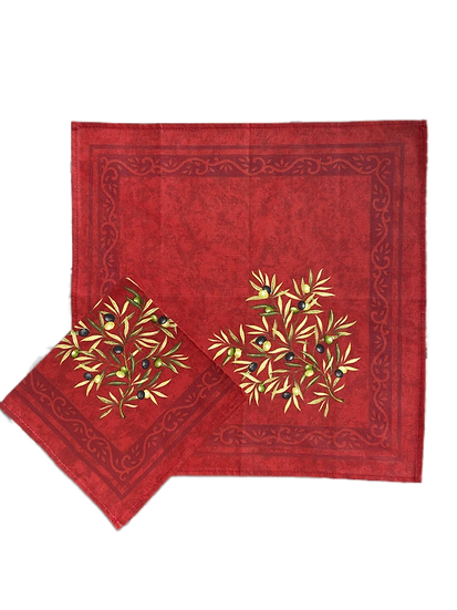 Olive Red Cotton Napkins