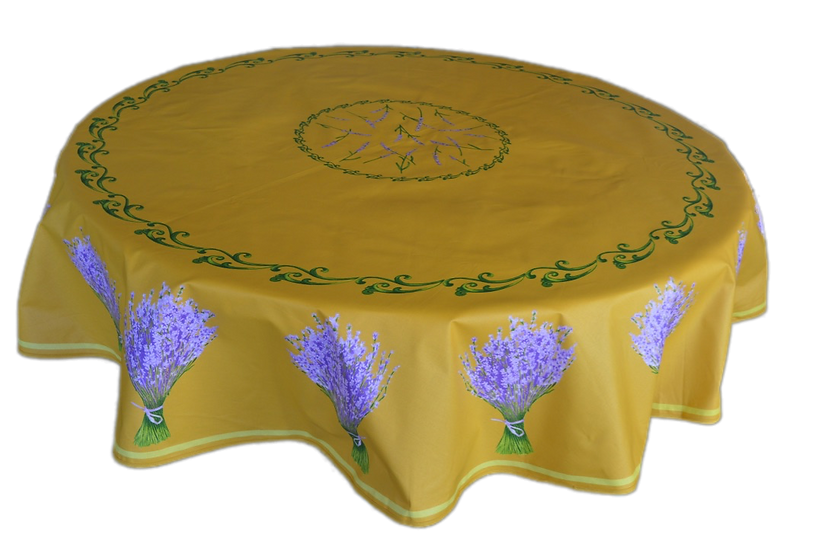 Lavender Bunches Yellow Coated Cotton Tablecloth