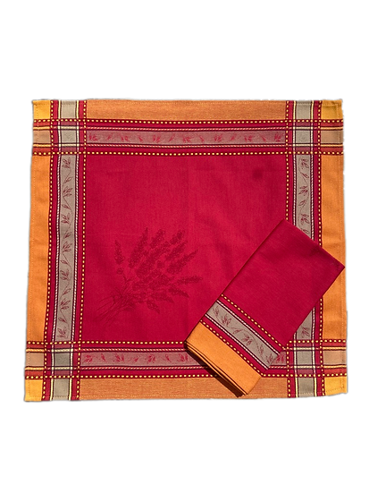 Senanque Red with Yellow Jacquard Napkins