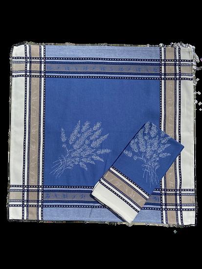 Senanque Blue White Jacquard Napkin