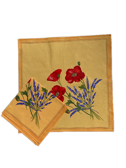 Poppy and Lavender Yellow Napkin