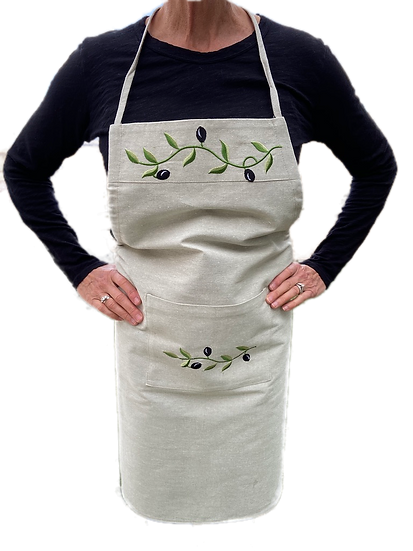 Embroidered Olive Aprons