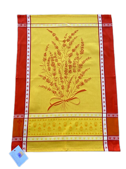 Grignan Dish Towels: Yellow with Orange